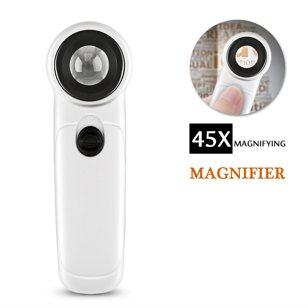 45X Glass Portable Magnifying Glass Mini with LED Loup