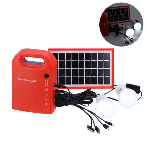 Portable Solar Panel W/USB Charging Cable and Emergency LED Lighting System