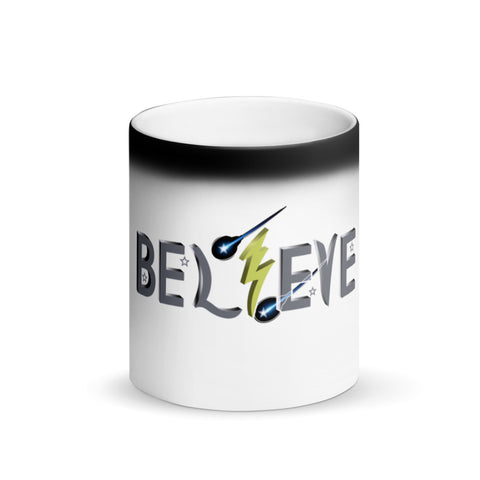 "T-Bird Soaring ""BEL⚡EVE"""" Matte Black Magic Mug"