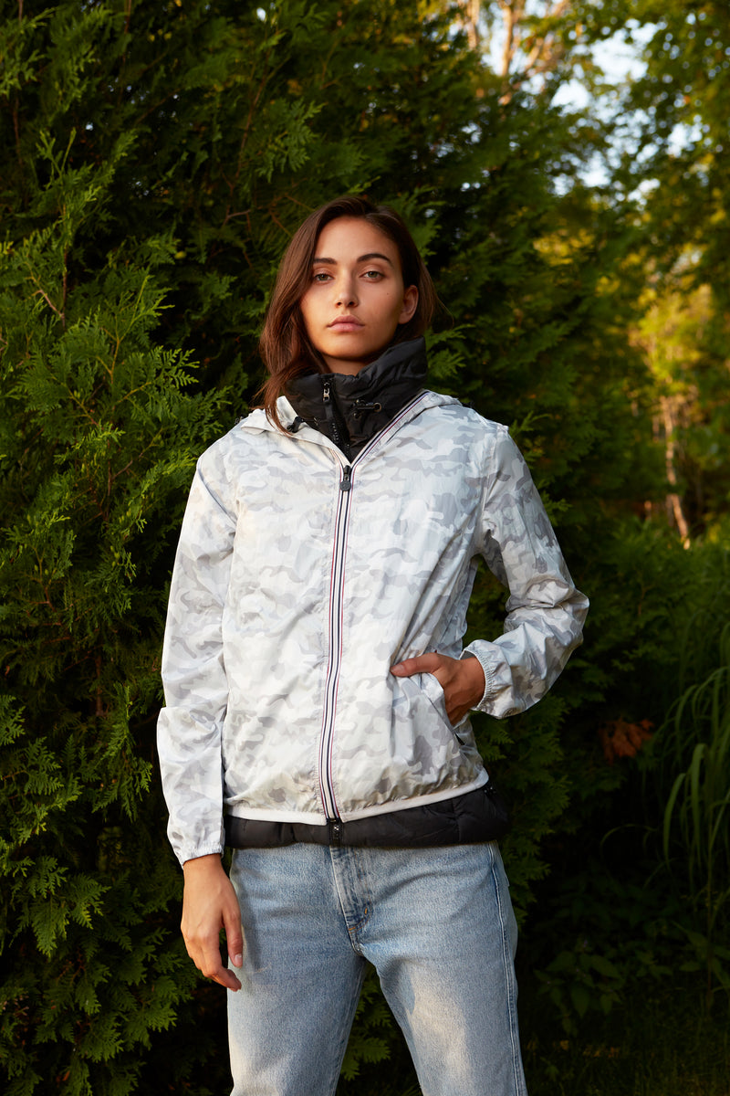 Sloane Print - White Camo Full Zip Packable Rain Jacket - Woman rain jacket -  O8lifestyle