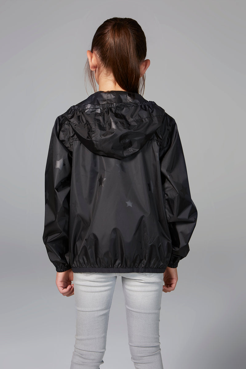 Sam Print - Kids black gloss stars packable rain jacket - Kids rain jackets -  O8lifestyle