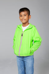 Sam - kids green fluo full zip packable rain jacket - Kids rain jackets -  O8lifestyle