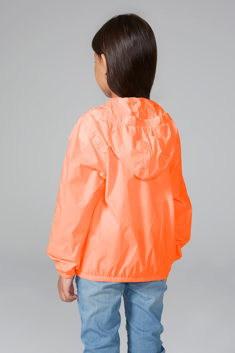 Sam - kids orange fluo full zip packable rain jacket - Kids rain jackets -  O8lifestyle