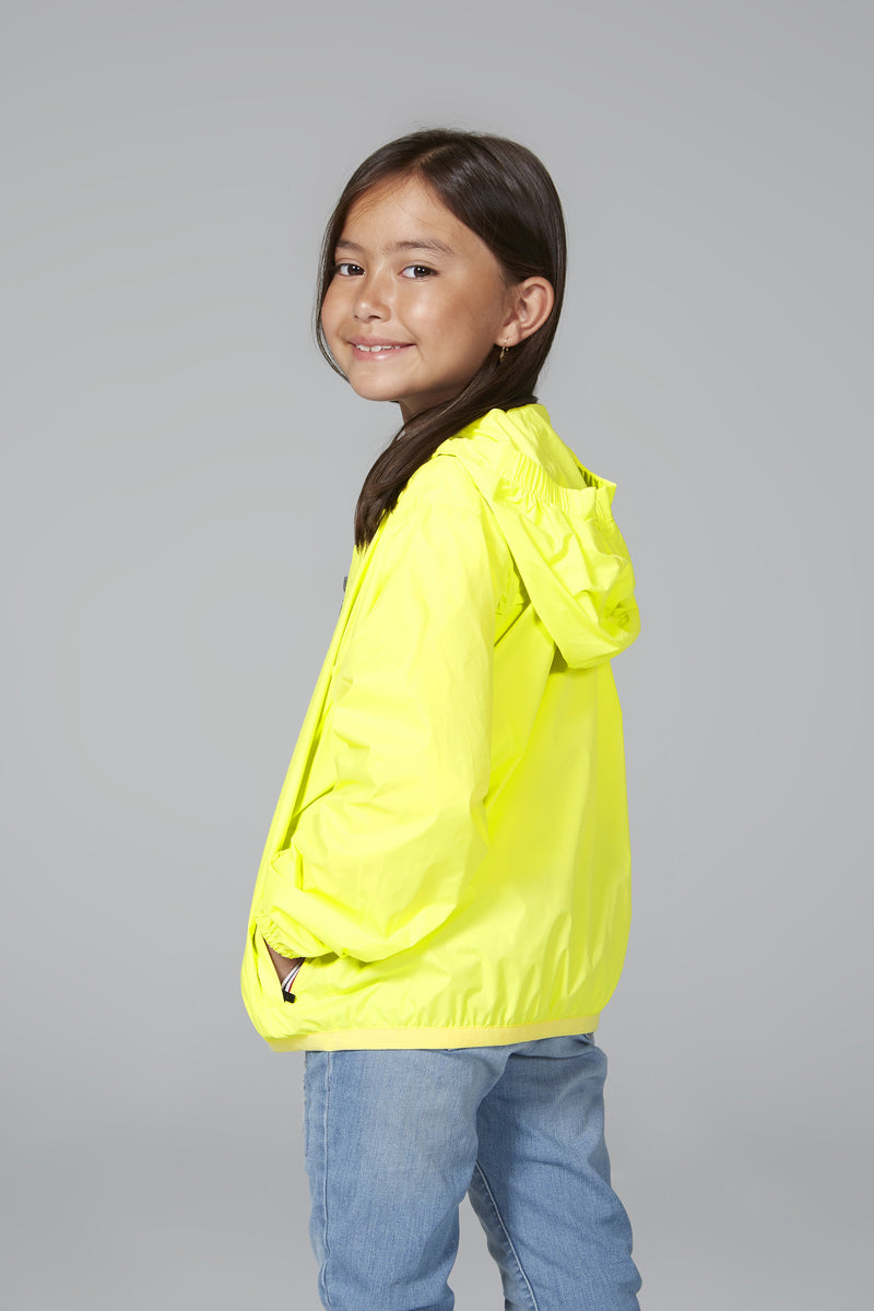 Sam - kids yellow fluo full zip packable rain jacket - Kids rain jackets -  O8lifestyle