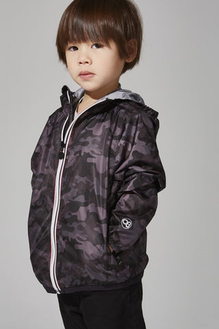 Kids Black Camo Full Zip Packable Jacket