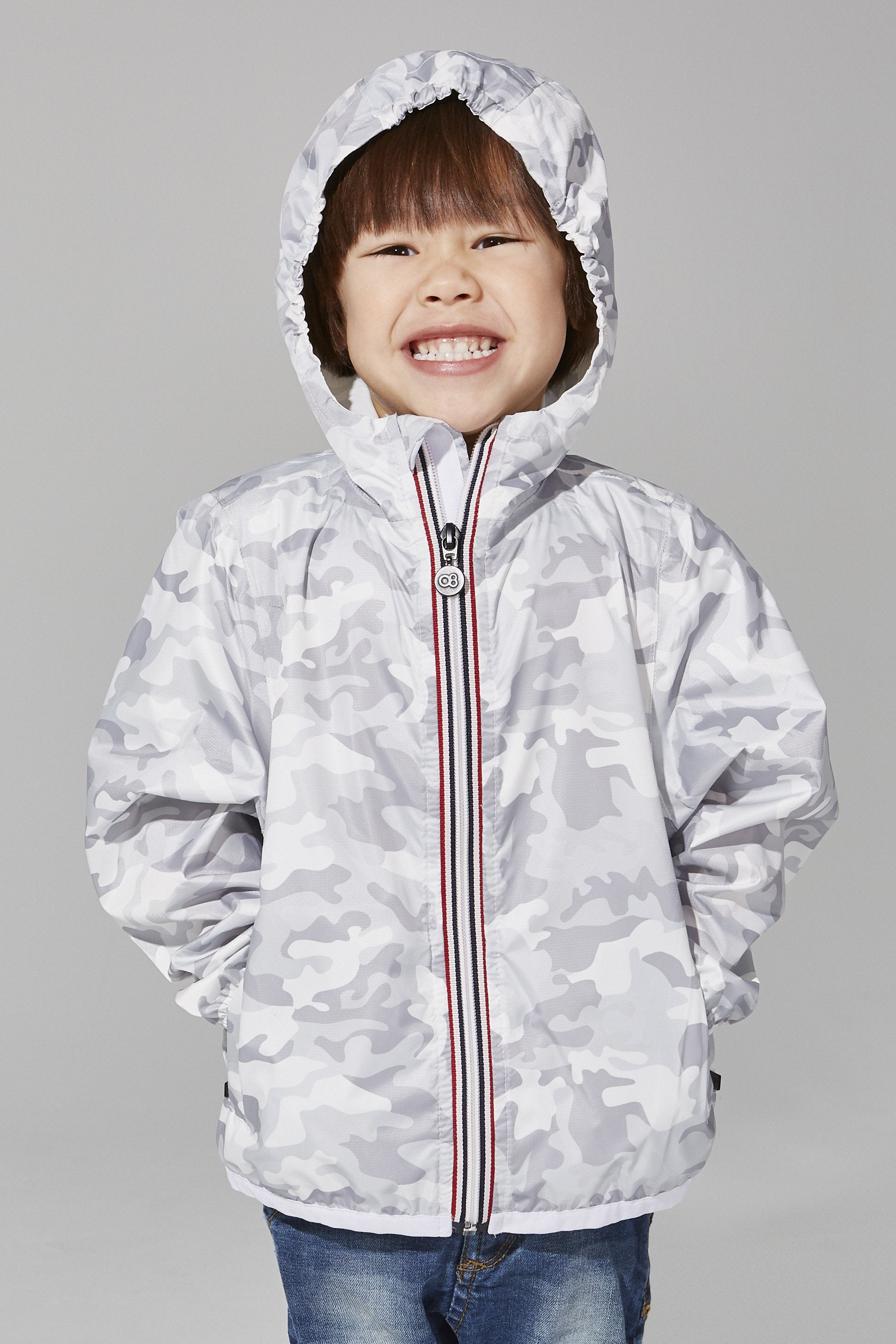 Kids White Camo Full Zip Packable Jacket