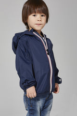 Kids Navy Full Zip Packable Jacket - Kids -  O8lifestyle