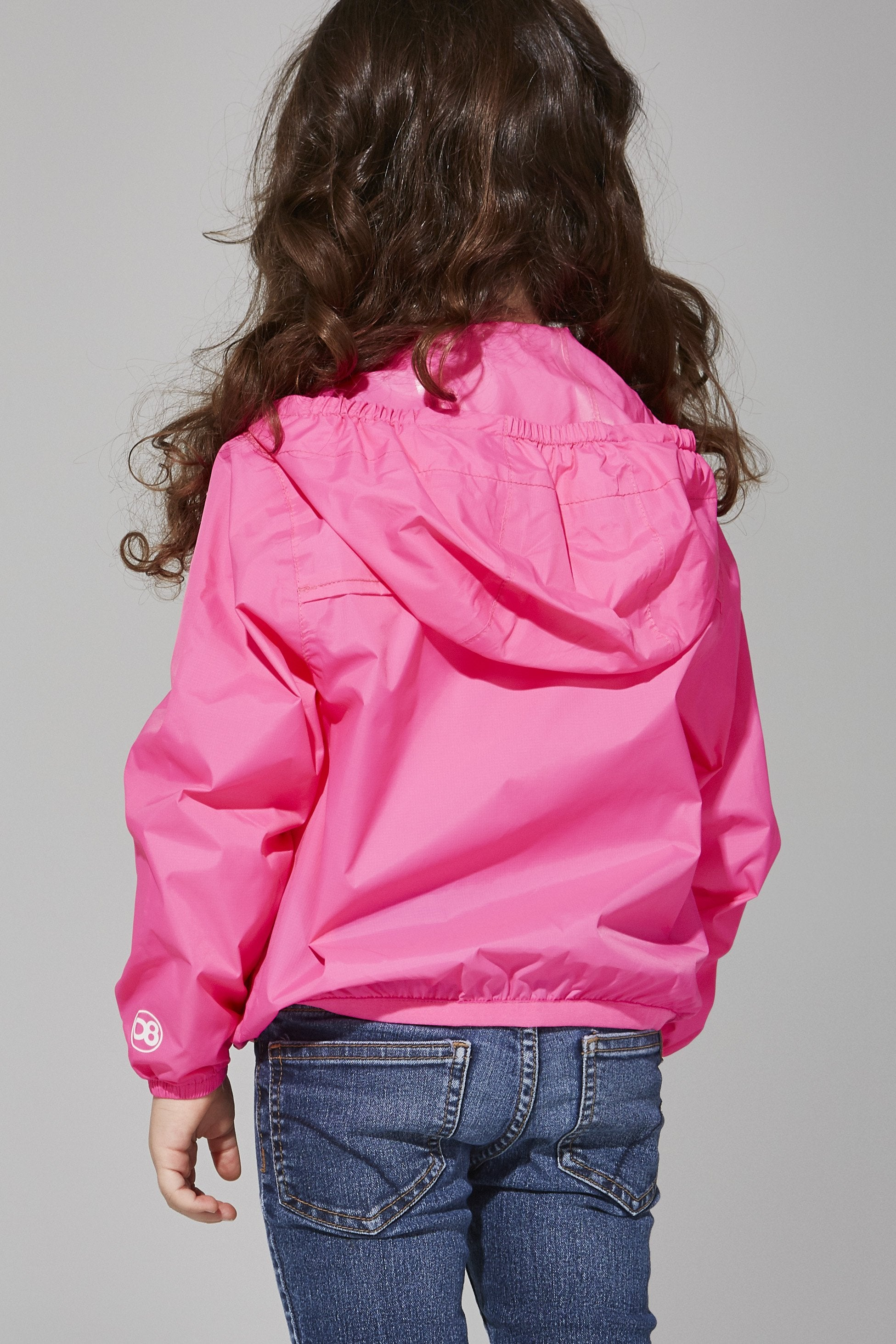Kids Pink Fluo Full Zip Packable Jacket