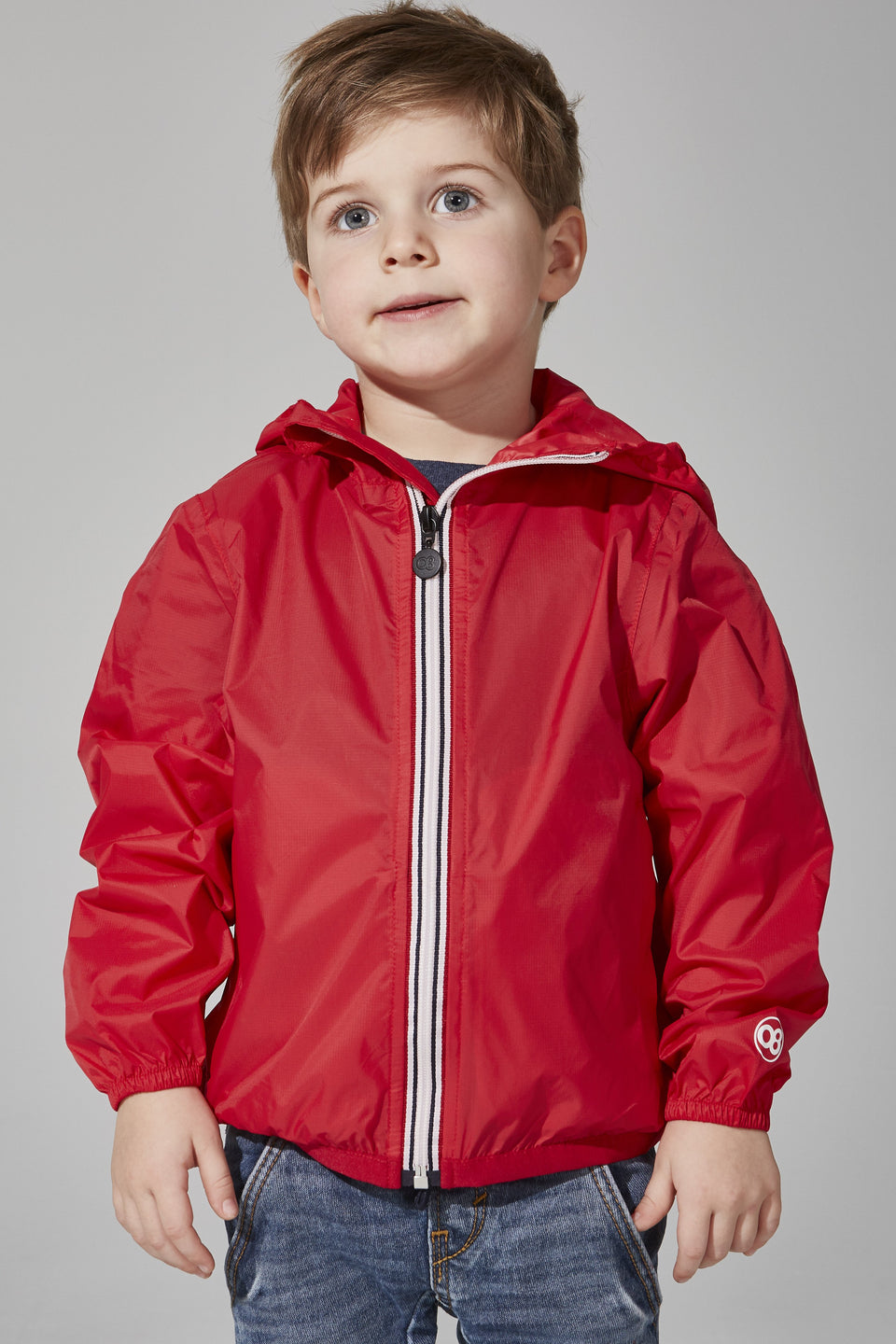 Kids Red Full Zip Packable Jacket - Kids -  O8lifestyle