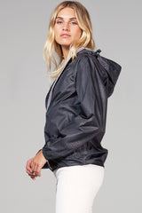 Sloane - black crocodile full zip packable rain jacket - Woman rain jacket -  O8lifestyle