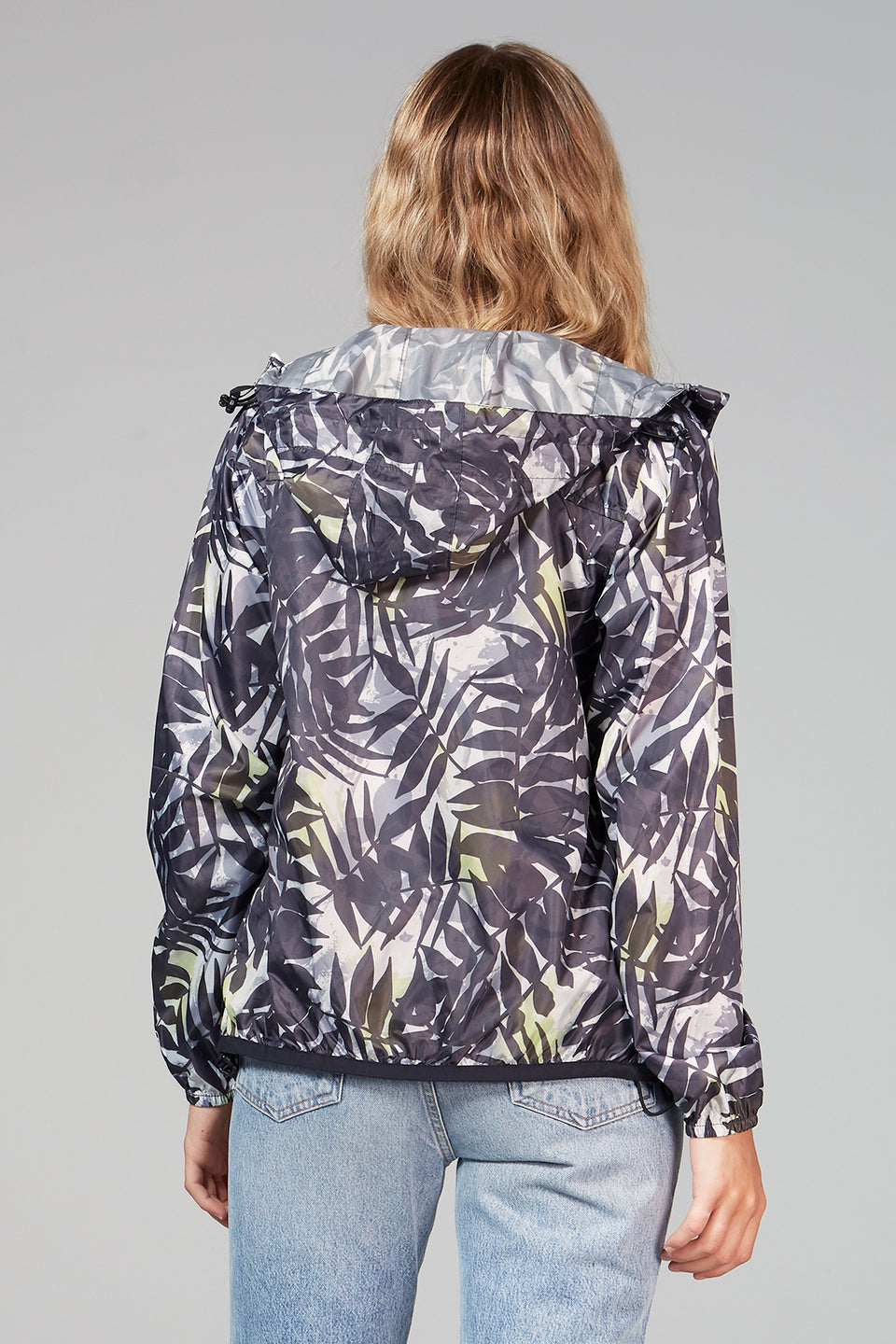 Sloane Print - Palm Print Full Zip Packable Rain Jacket - Woman rain jacket -  O8lifestyle