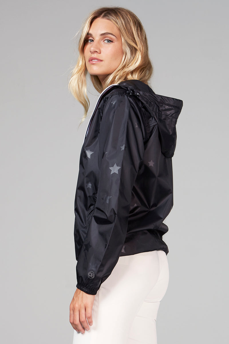 Sloane - gloss stars black full zip packable rain jacket - Woman rain jacket -  O8lifestyle