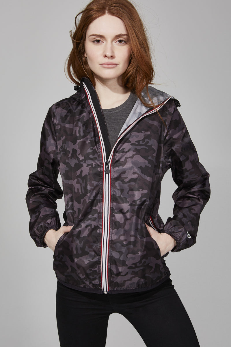 Black Camo Full Zip Packable Jacket - Women -  O8lifestyle