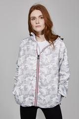 White Camo Full Zip Packable Jacket - Women -  O8lifestyle