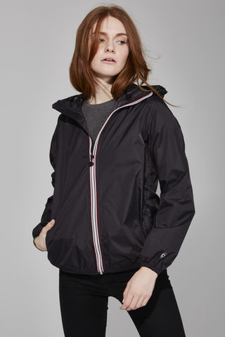 Black Full Zip Packable Jacket - Women -  O8lifestyle