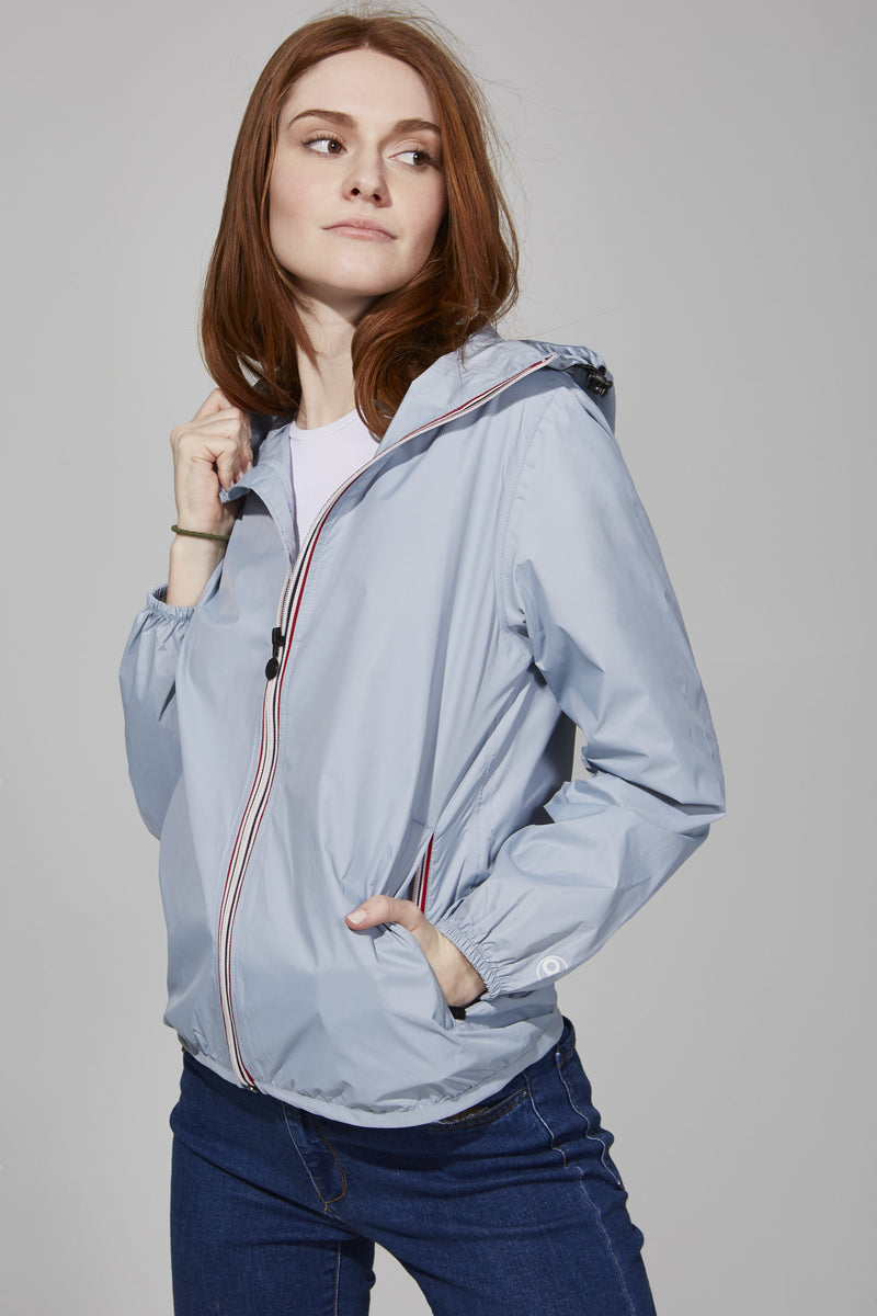 Celestial Blue Full Zip Packable Jacket - Women -  O8lifestyle