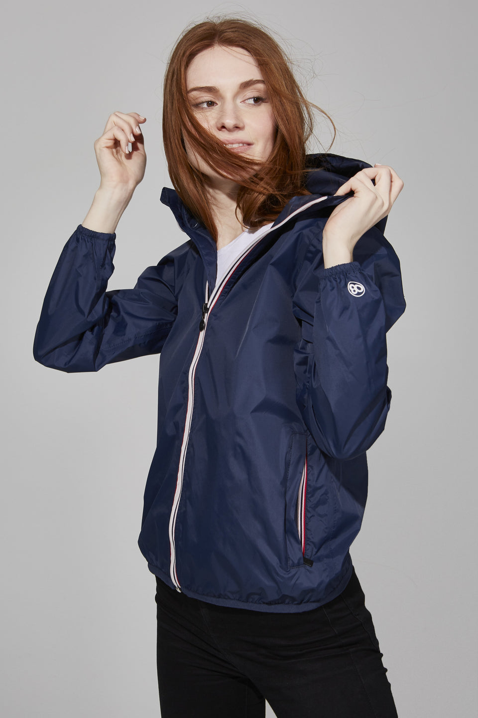39e2e2d59 Sloane - Navy Full Zip Packable Rain Jacket