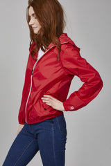 Red Full Zip Packable Jacket - Women -  O8lifestyle