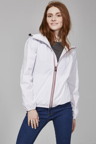 White Full Zip Packable Jacket - Women -  O8lifestyle