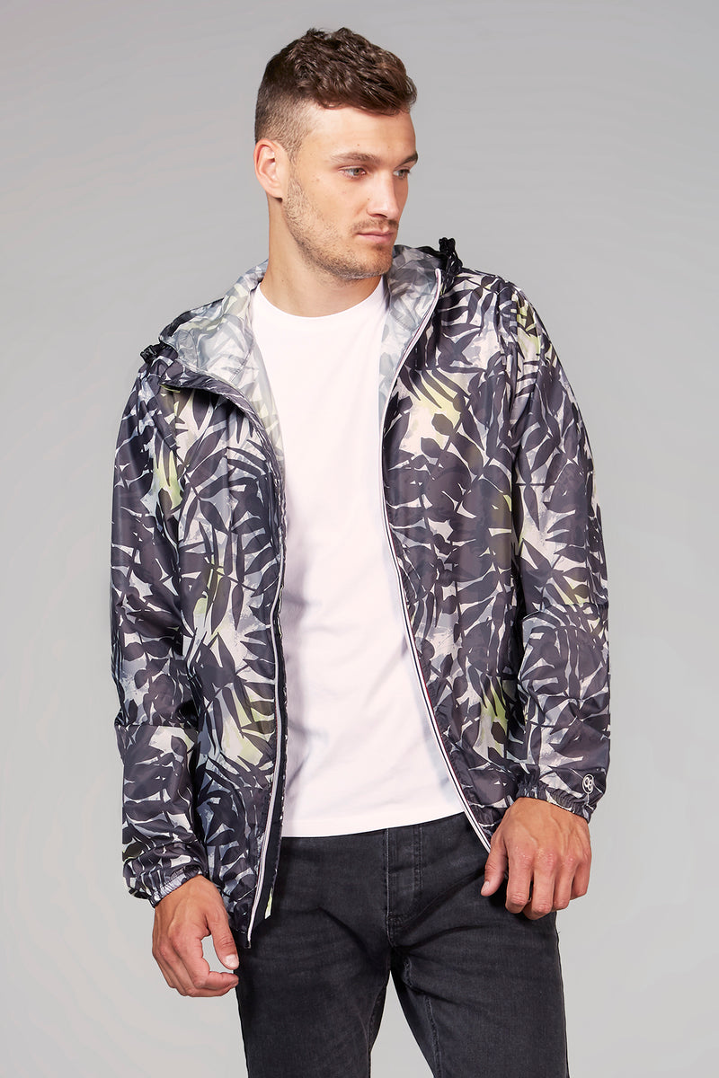Max Print - Palm Print Full Zip Packable Rain Jacket - Man rain jacket -  O8lifestyle
