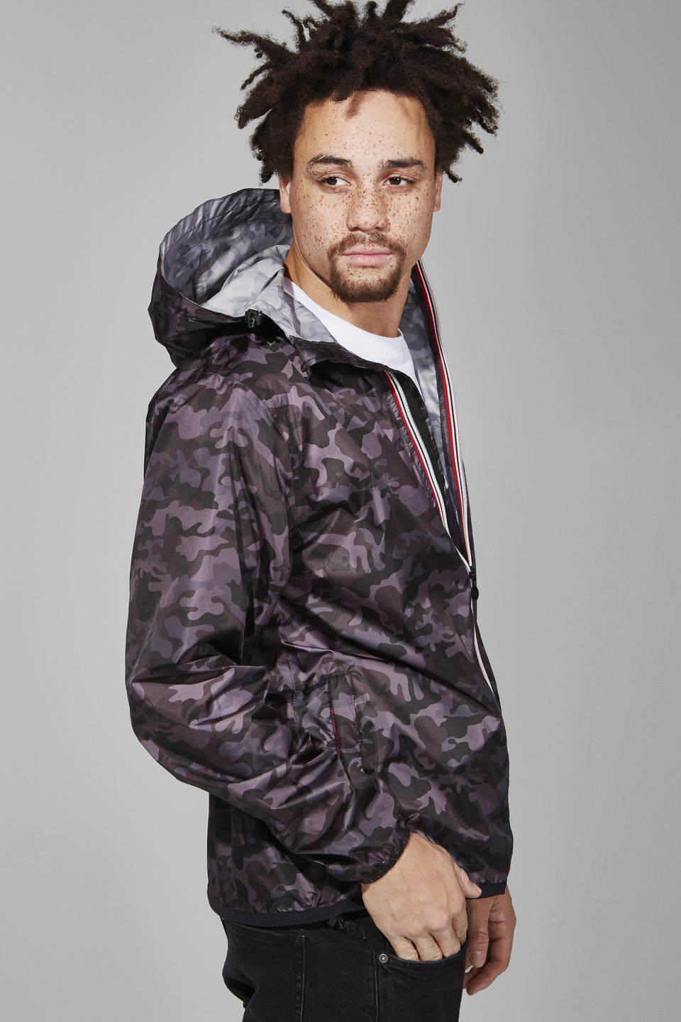 Black Camo Full Zip Packable Jacket - Men -  O8lifestyle