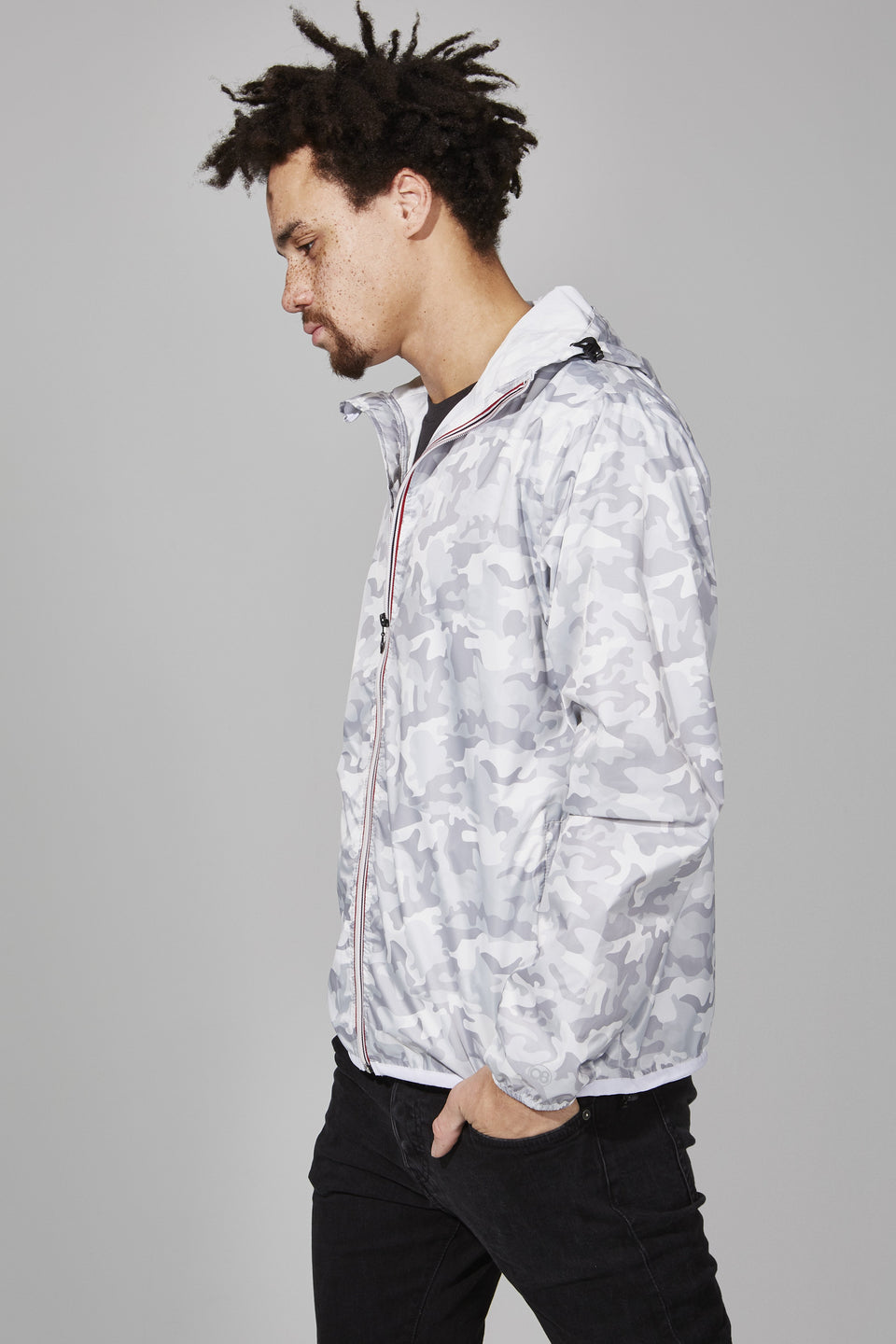 White Camo Full Zip Packable Jacket - Men -  O8lifestyle