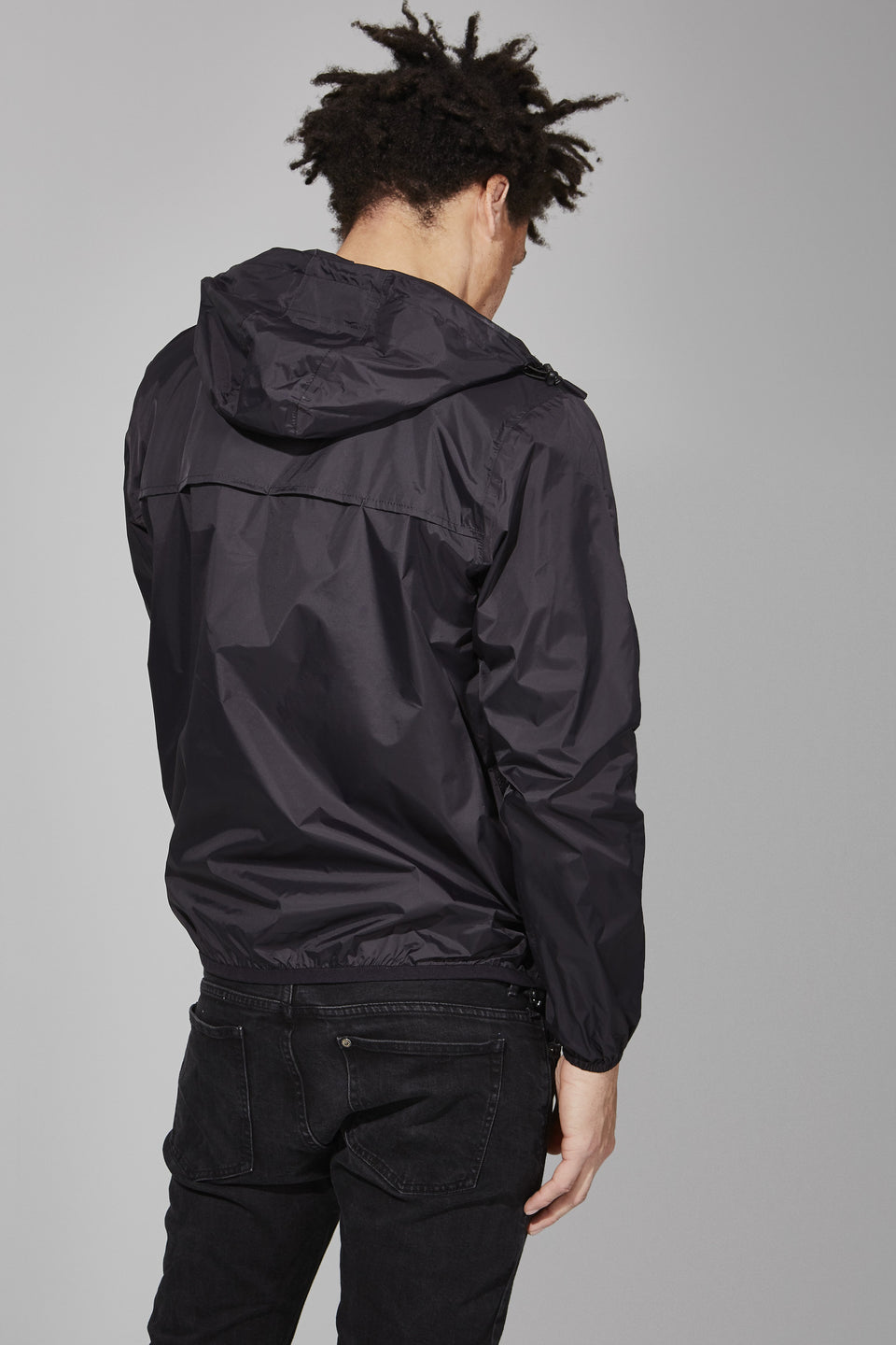 Black Full Zip Packable Jacket - Men -  O8lifestyle