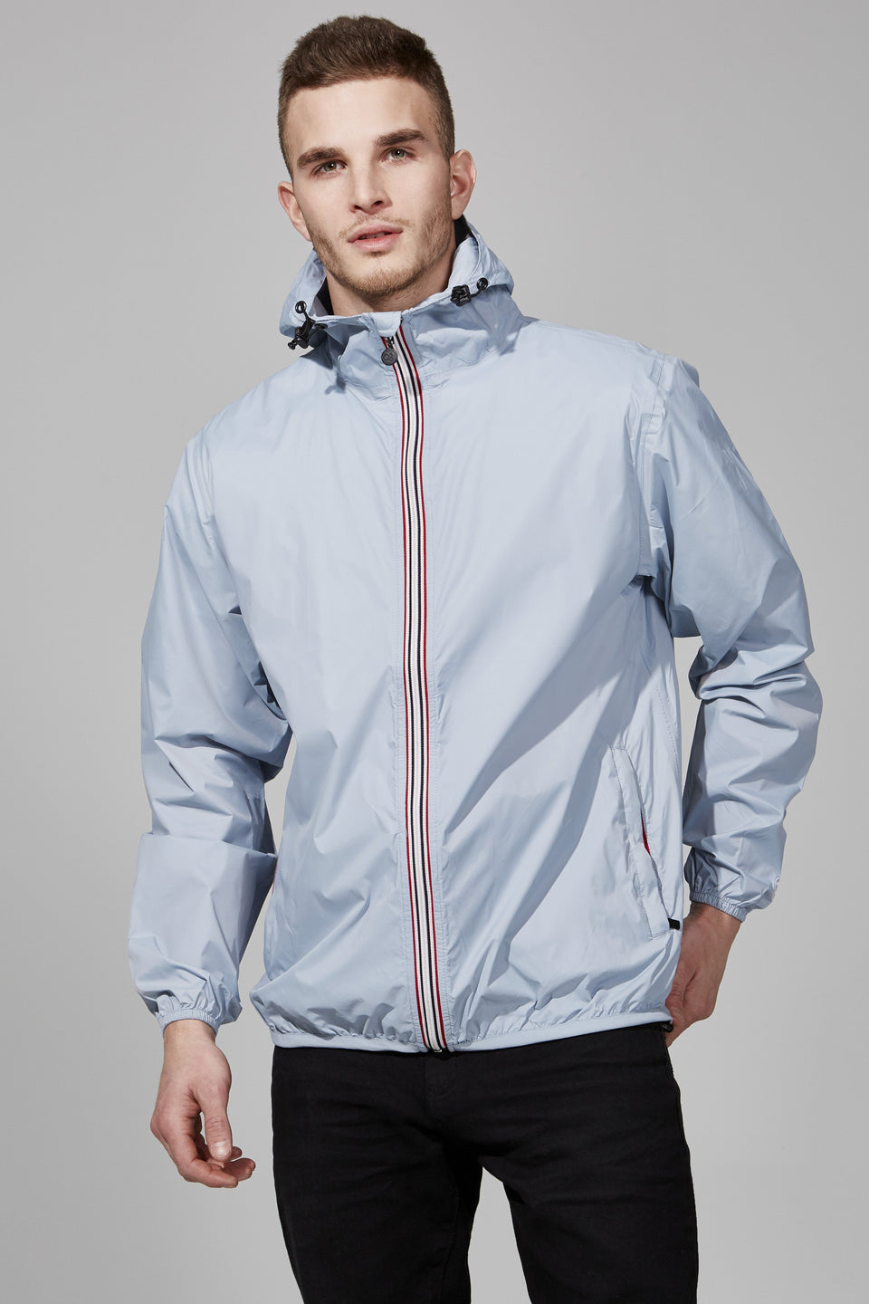 Celestial Blue Full Zip Packable Jacket - Men -  O8lifestyle