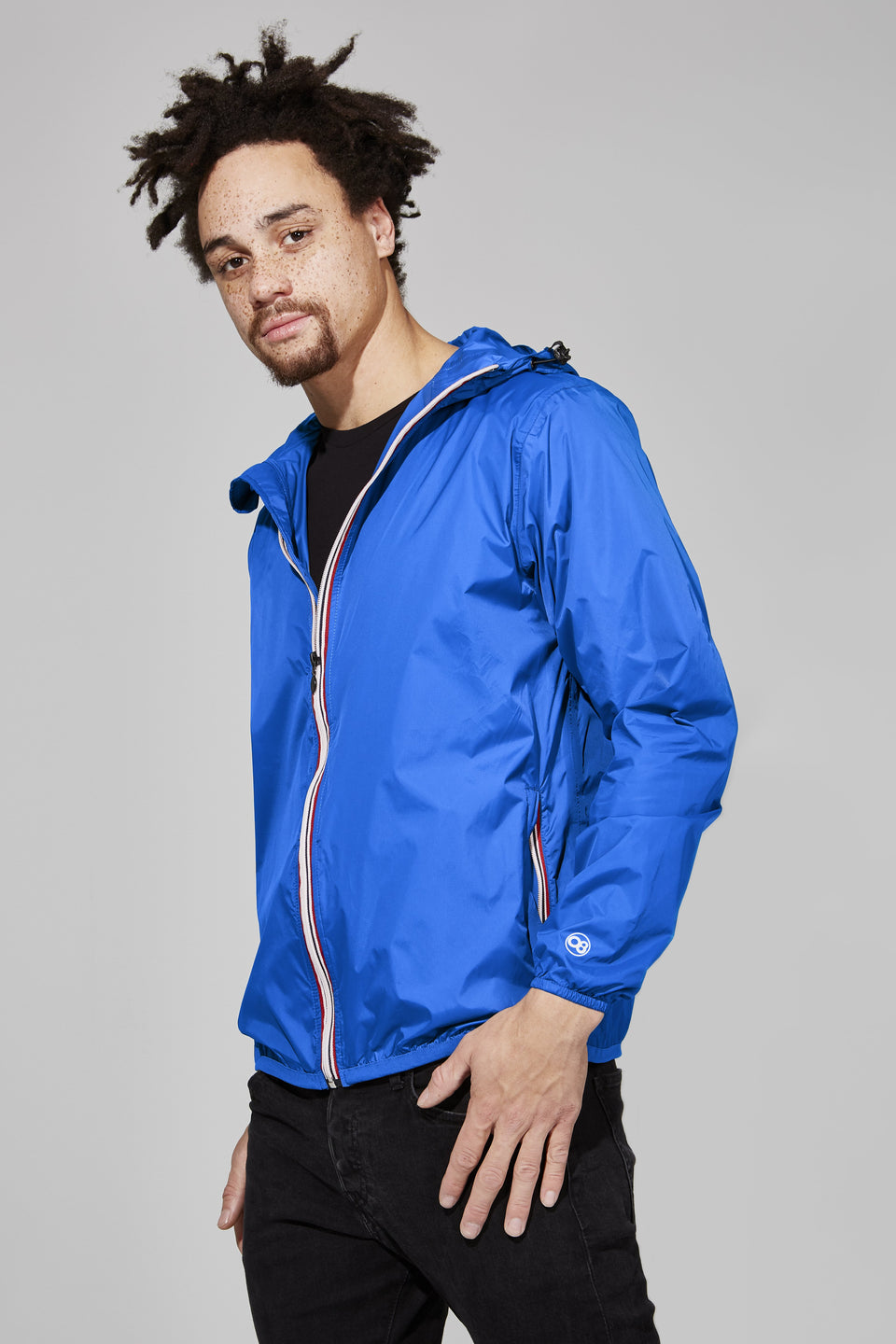 Royal Blue Full Zip Packable Jacket - Men -  O8lifestyle