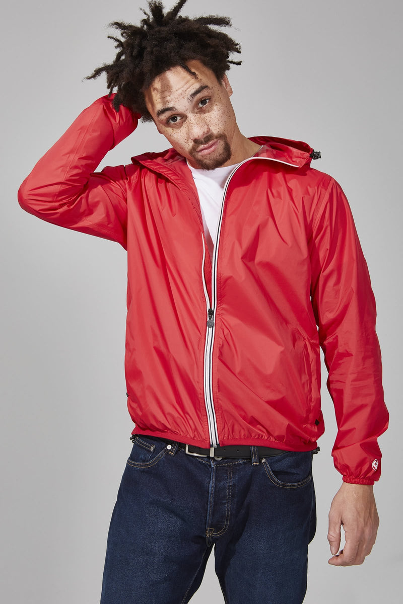 Red Full Zip Packable Rain Jacket - O8Lifestyle