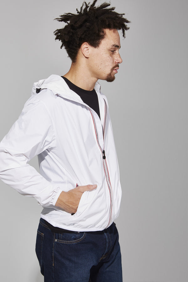 White Full Zip Packable Jacket - Men -  O8lifestyle