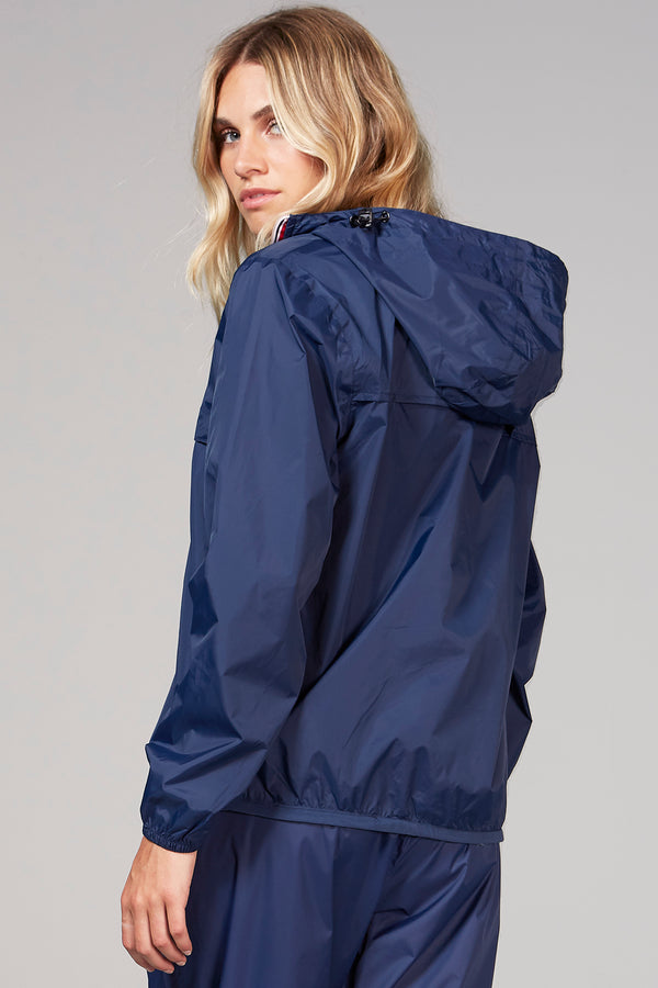 Alex - Navy Quarter Zip Packable Rain Jacket - Woman rain jacket -  O8lifestyle