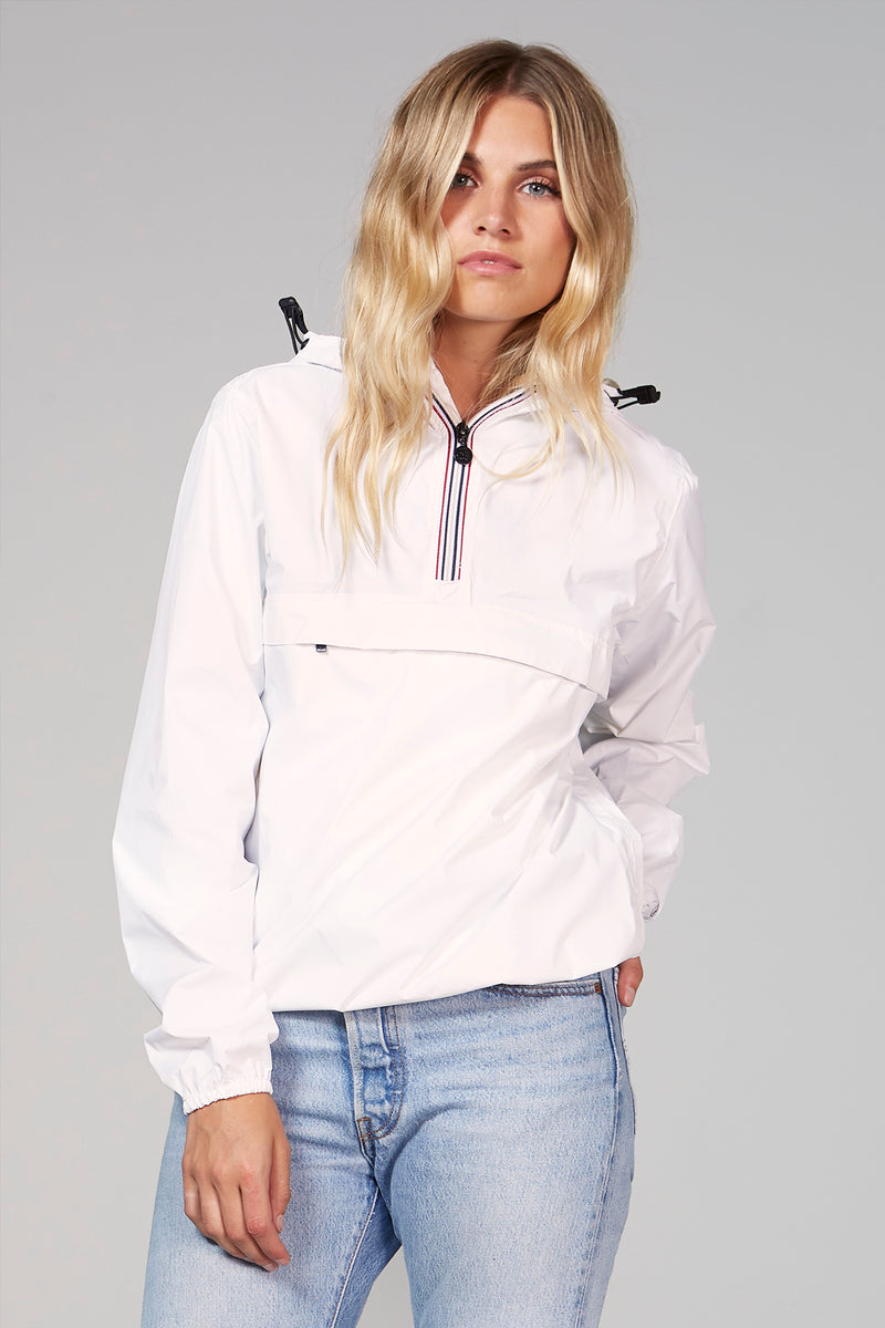 Alex - White Quarter Zip Packable Rain Jacket - Woman rain jacket -  O8lifestyle