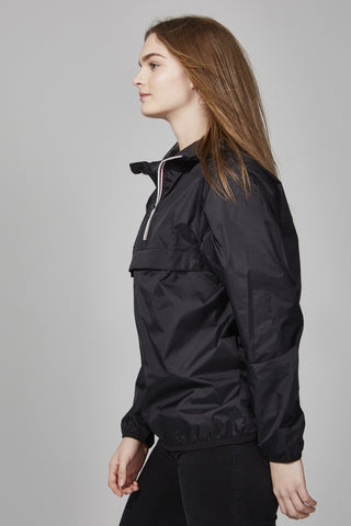 Black Quarter Zip Packable Jacket - Women -  O8lifestyle