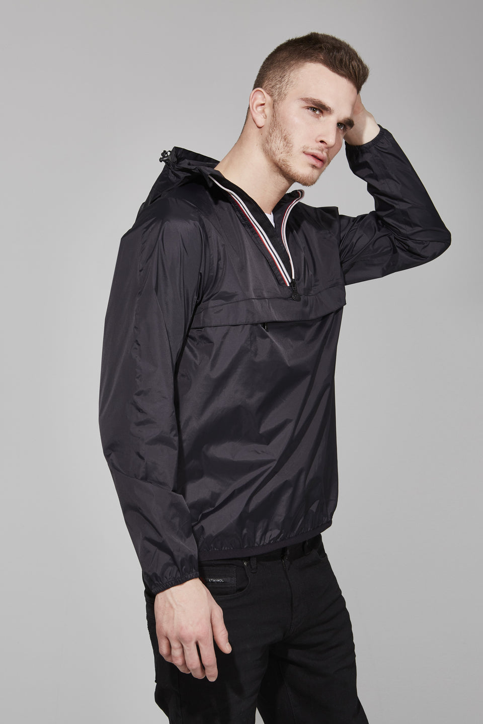 Black Quarter Zip Packable Jacket - Men -  O8lifestyle