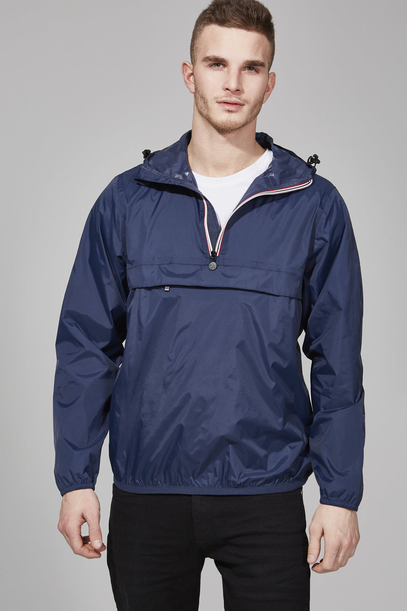 Navy Quarter Zip Packable Jacket - Men -  O8lifestyle