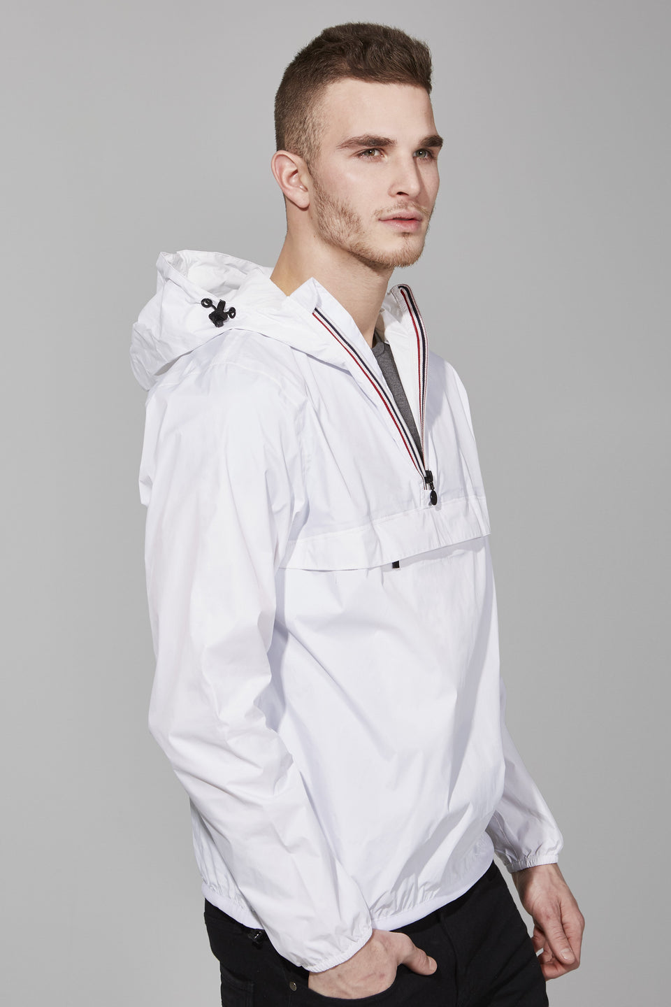 White Quarter Zip Packable Jacket - Men -  O8lifestyle