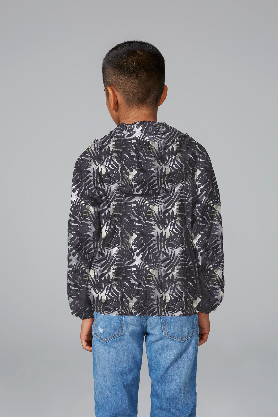 Sam Print - Kids Palm Print Full Zip Packable Rain Jacket - Kids rain jackets -  O8lifestyle