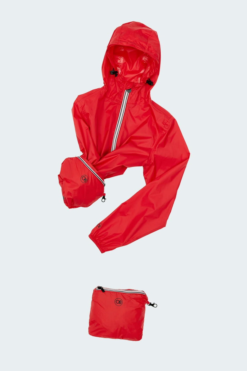 Red Full Zip Packable Rain Jacket - Woman rain jacket -  O8lifestyle