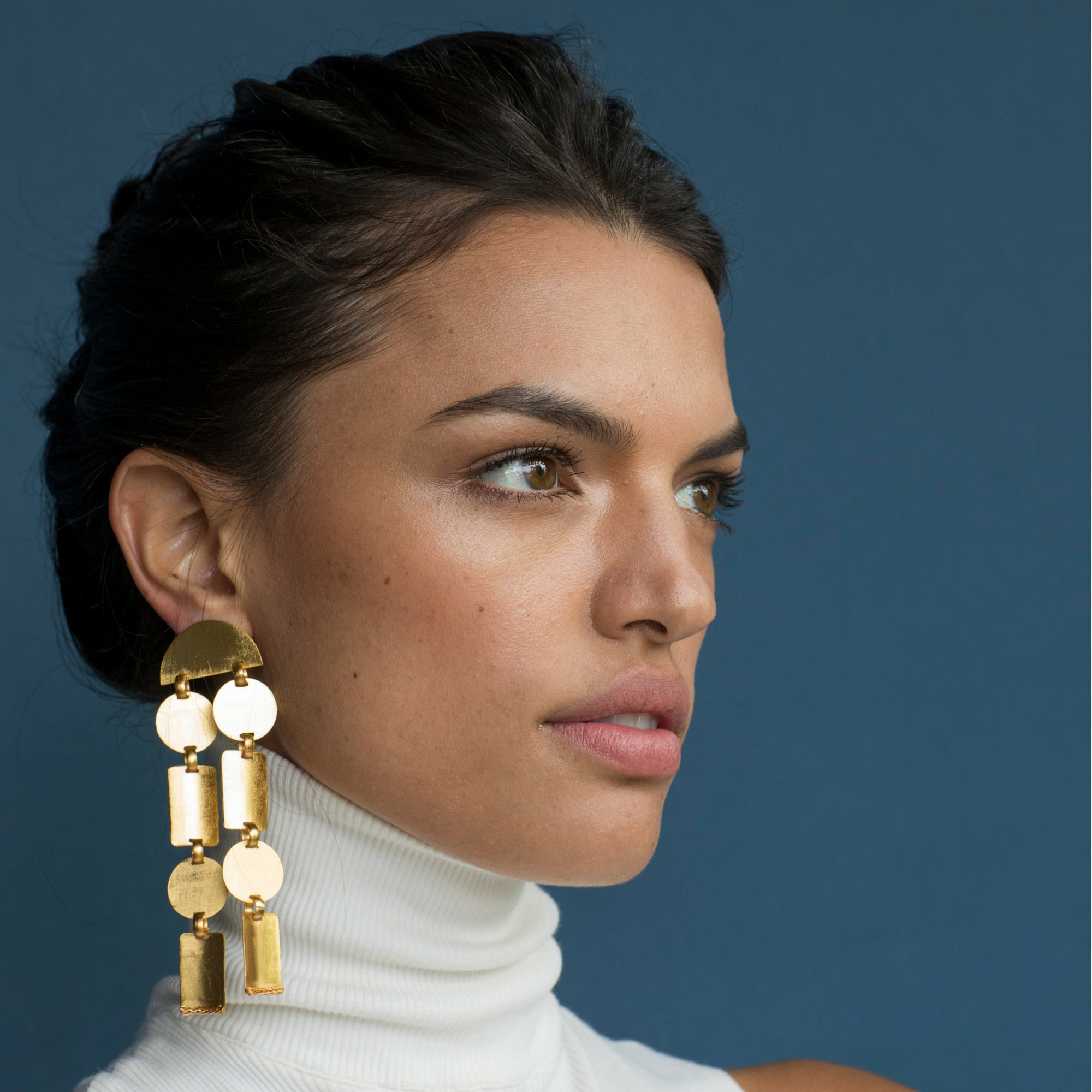 Liza Echeverry Jewelry Colombia Concave Earrings Gold