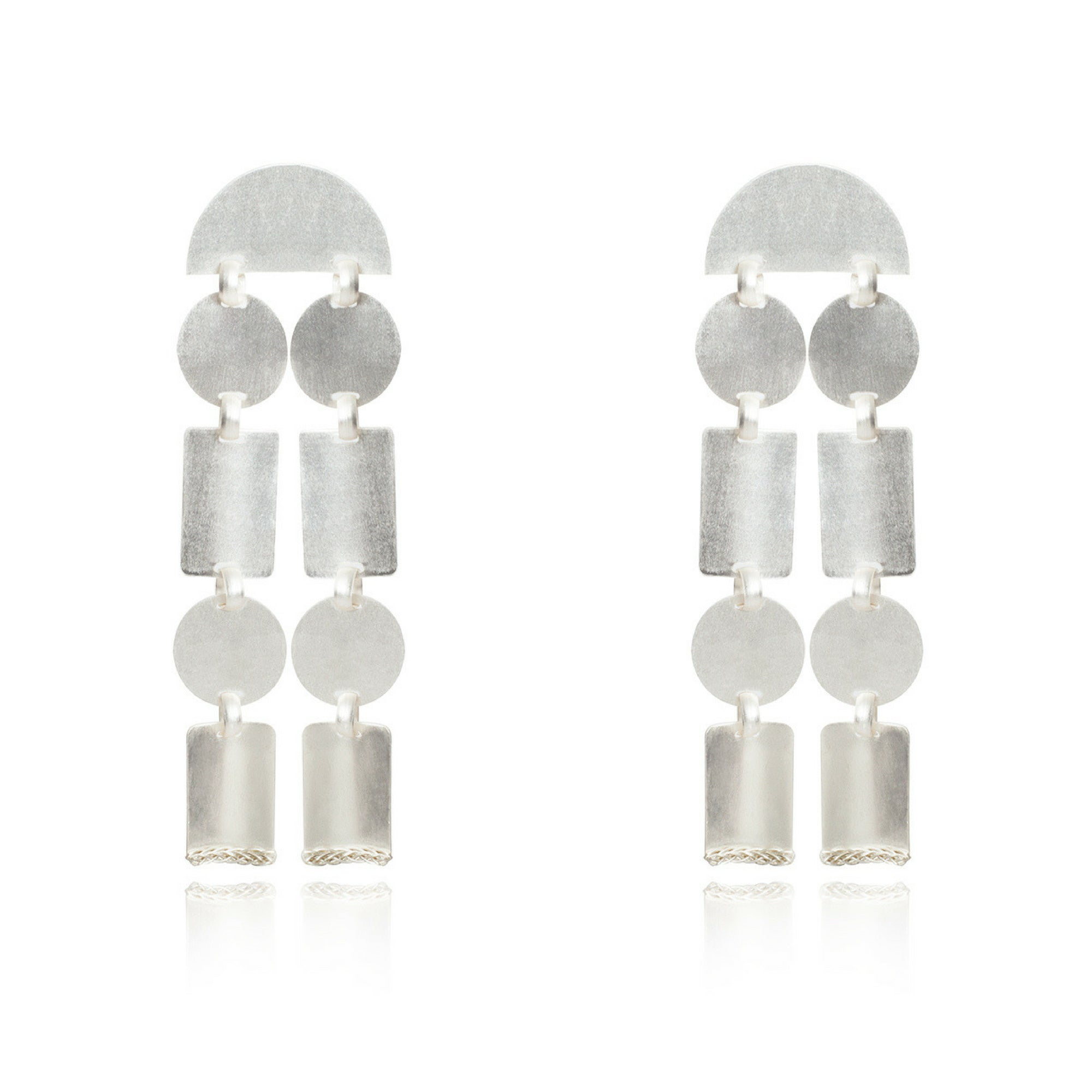 Liza Echeverry Jewelry Colombia Concave Earrings White Gold