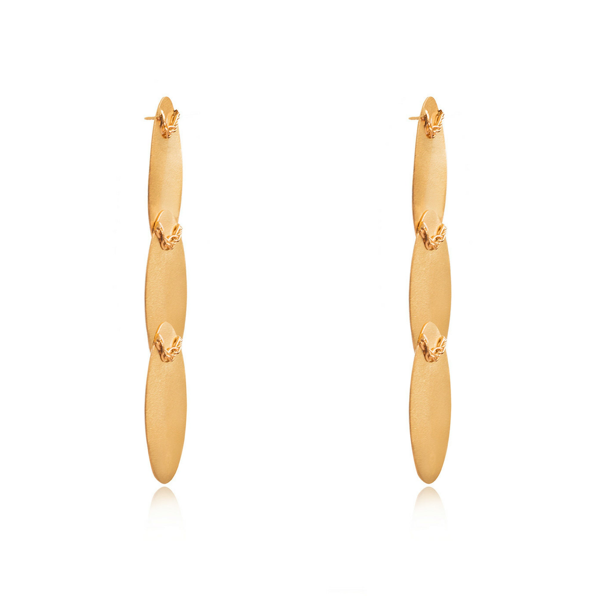 Liza Echeverry Jewelry Colombia Three Oval Earrings Gold