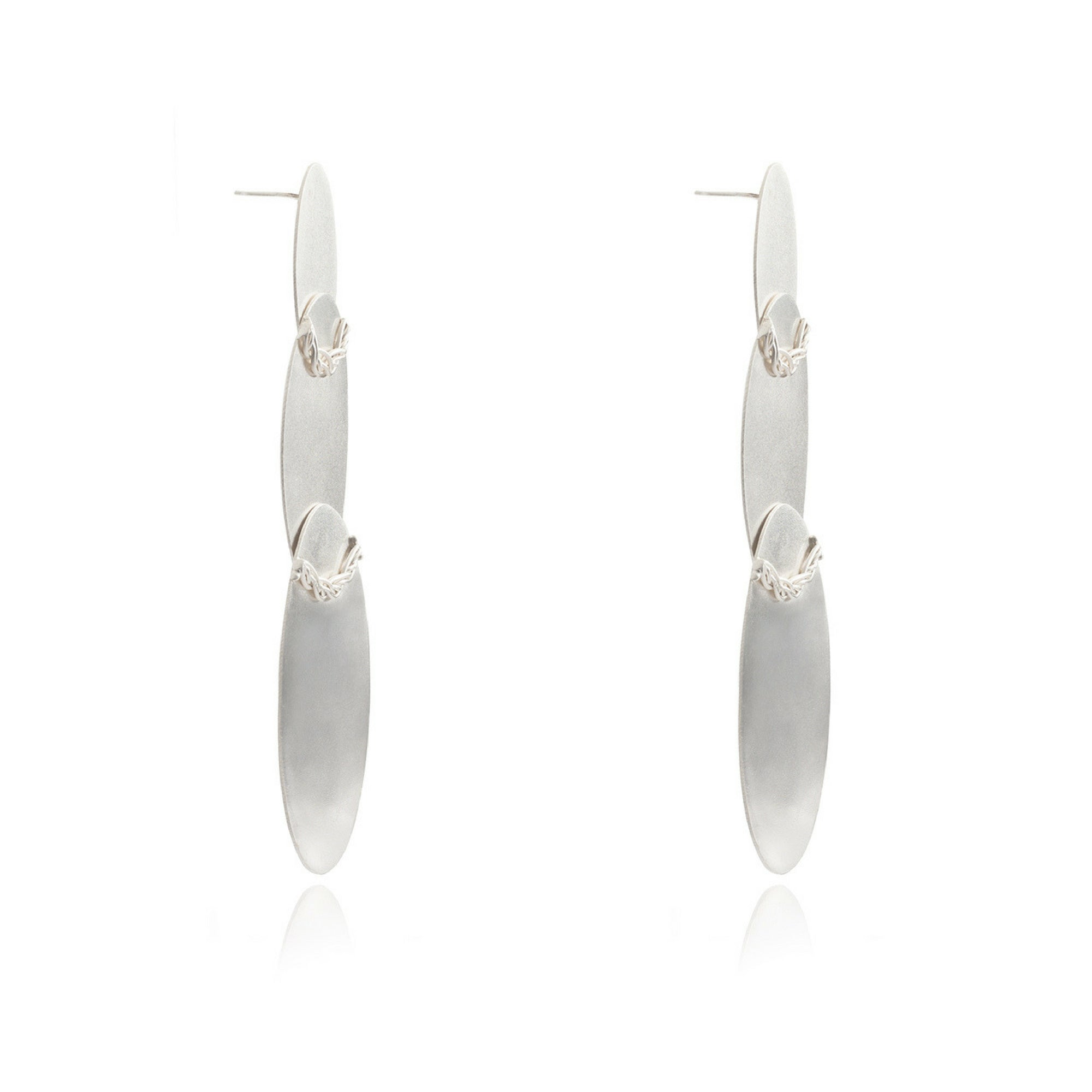 Liza Echeverry Jewelry Colombia Three Oval Earrings White Gold