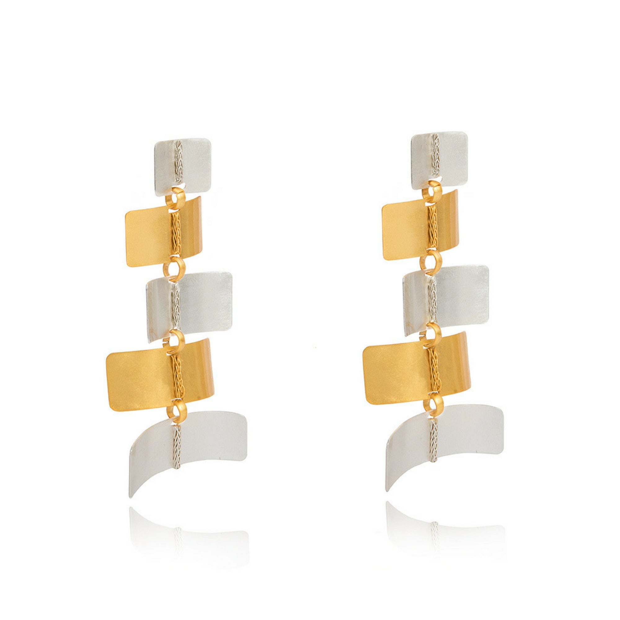 Liza Echeverry Jewelry Colombia Twist Earrings Mixed Gold