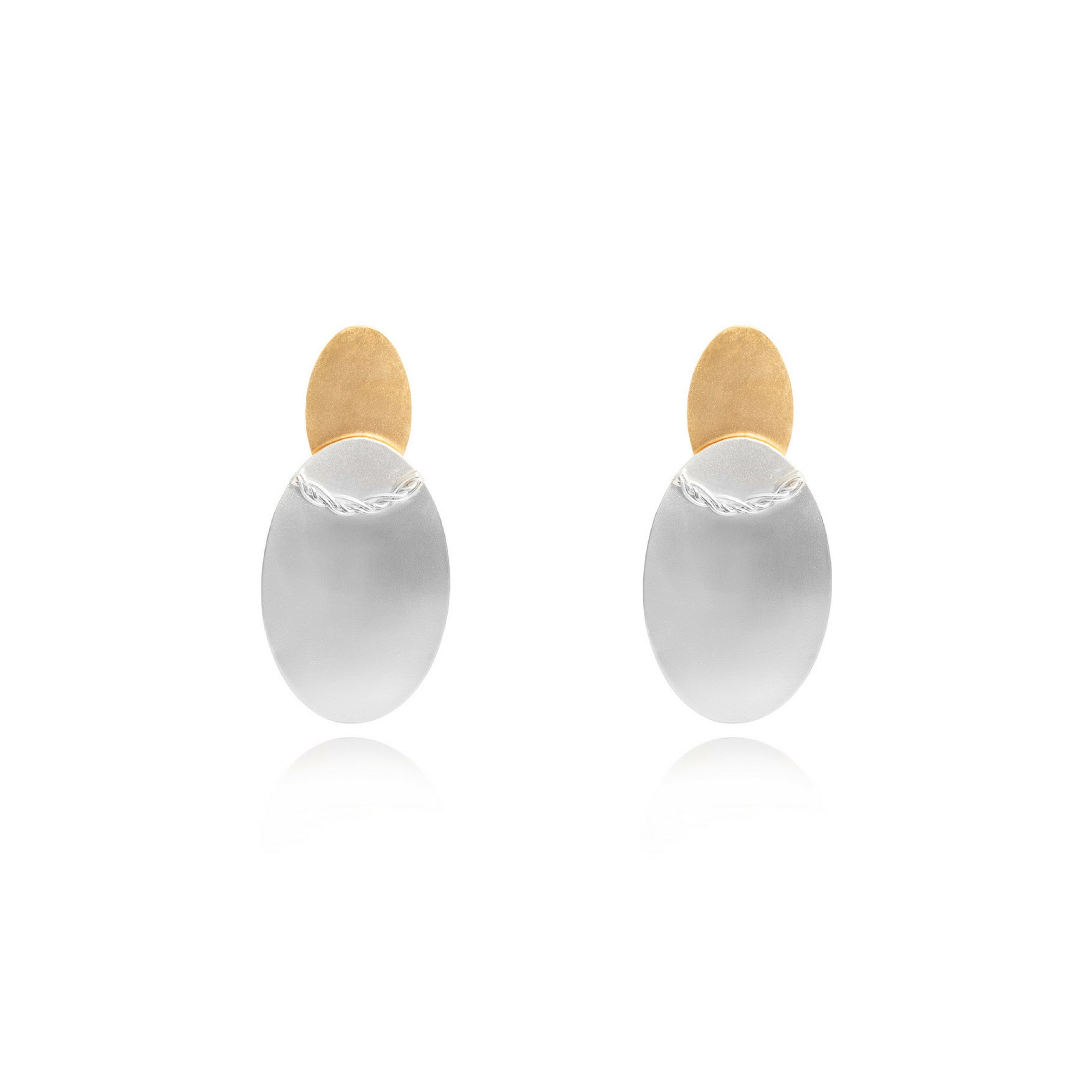 Liza Echeverry Jewelry Colombia Two Oval Earrings Mixed Gold