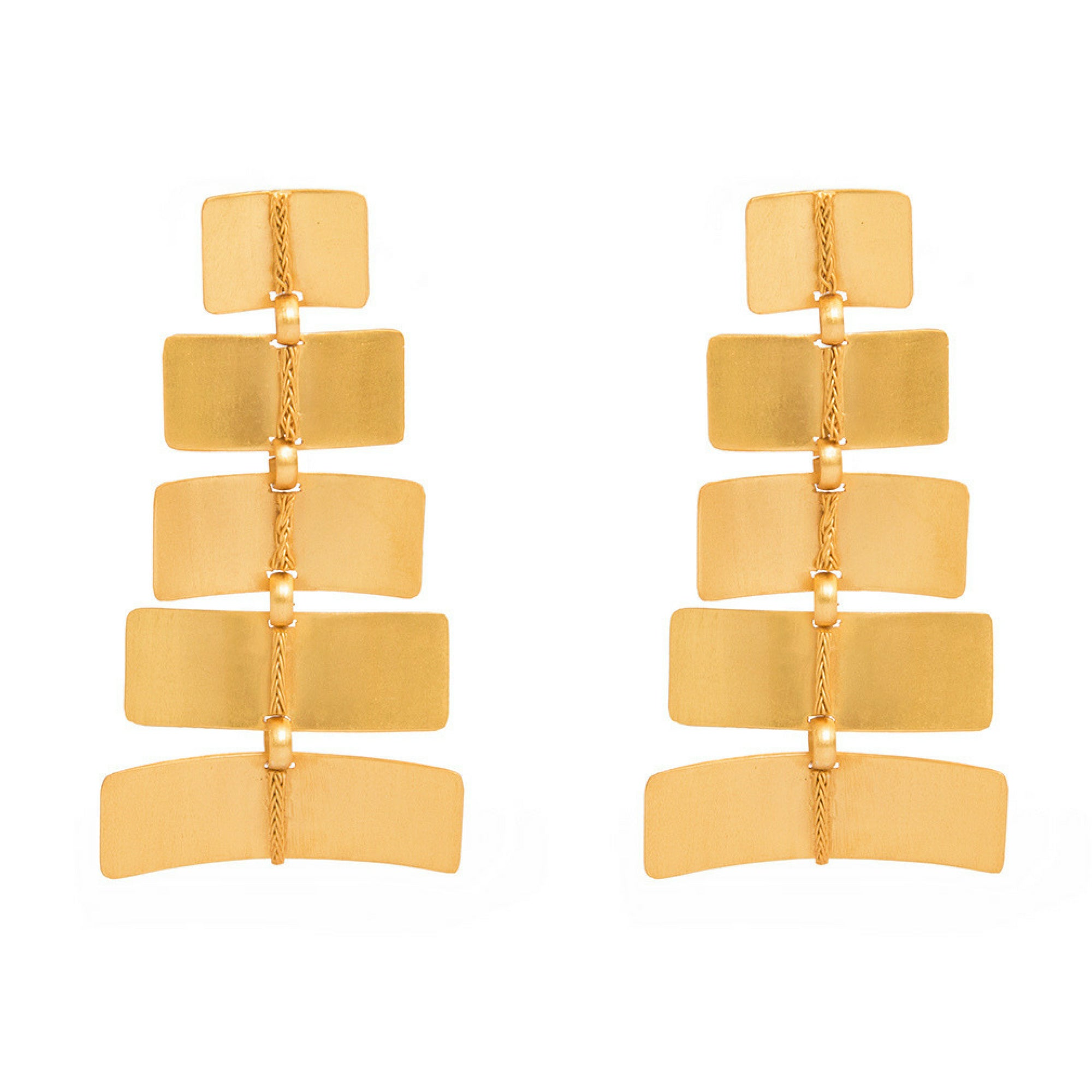 Liza Echeverry Jewelry Colombia Zigzag Earrings Gold