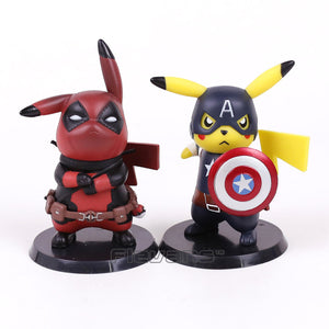 Pikachu Deadpool e Capitão América - Action Figure