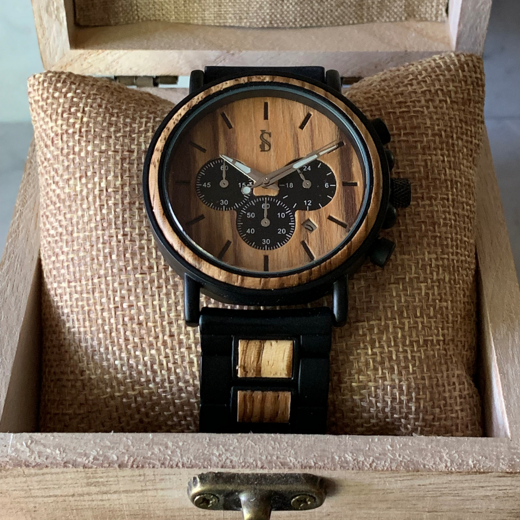 Ivory Soho Essex Wood Steel Chronograph Watch