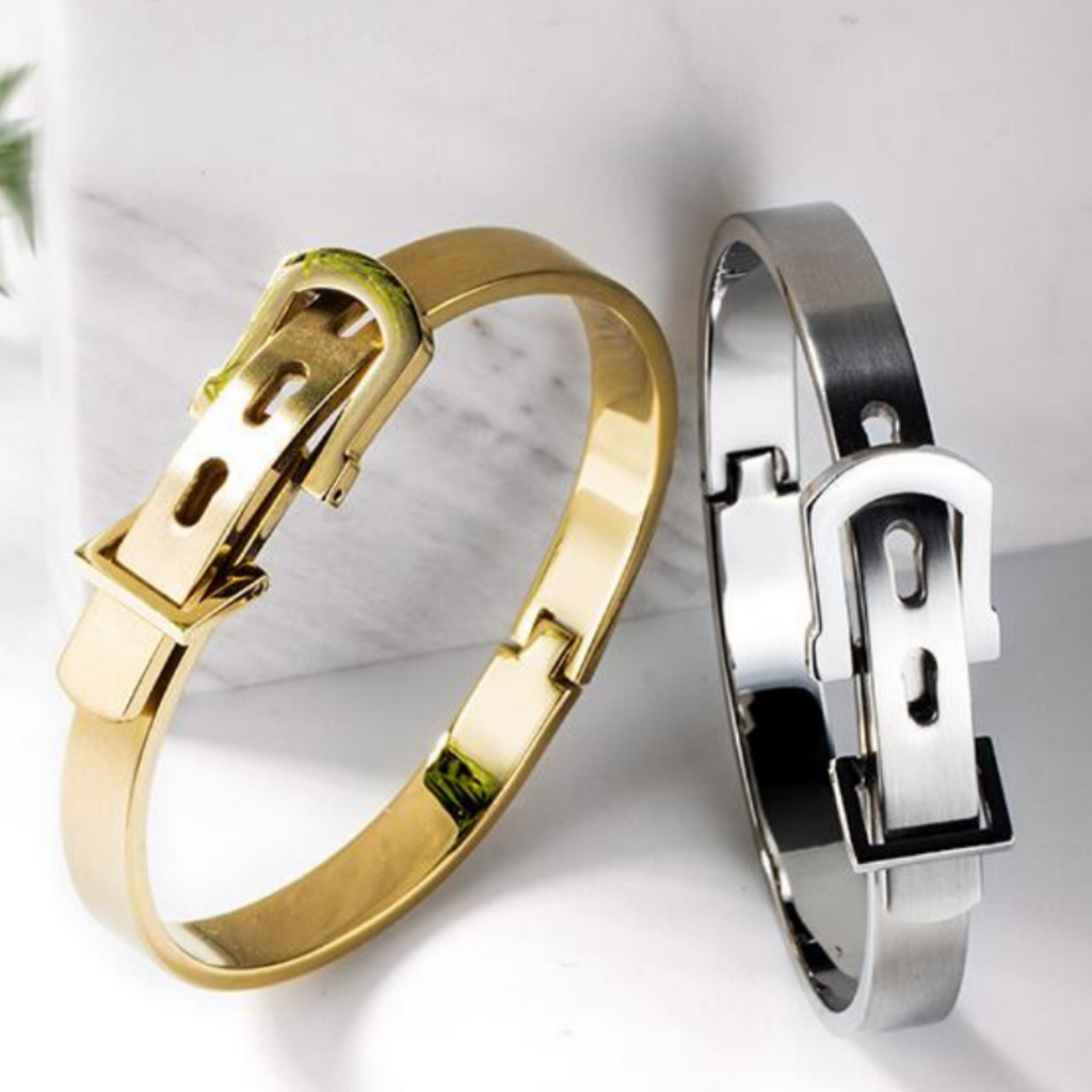Ivory Soho Horseshoe Buckle Stainless Steel Bangle