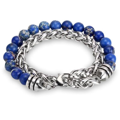 Ivory Soho Liam Blue Sea Jasper Stone Beaded Men's Bracelet Stainless Steel Chain